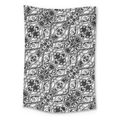 Black And White Ornate Pattern Large Tapestry