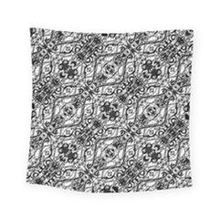 Black And White Ornate Pattern Square Tapestry (small)