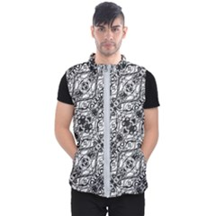 Black And White Ornate Pattern Men s Puffer Vest