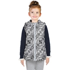 Black And White Ornate Pattern Kid s Puffer Vest