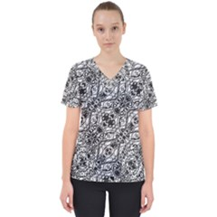 Black And White Ornate Pattern Scrub Top