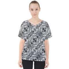 Black And White Ornate Pattern V Neck Dolman Drape Top