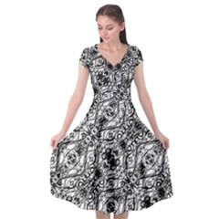 Black And White Ornate Pattern Cap Sleeve Wrap Front Dress