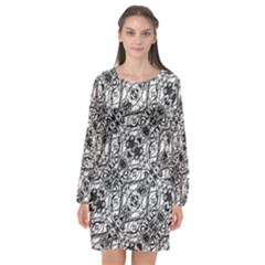 Black And White Ornate Pattern Long Sleeve Chiffon Shift Dress