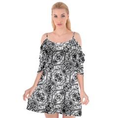 Black And White Ornate Pattern Cutout Spaghetti Strap Chiffon Dress