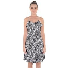 Black And White Ornate Pattern Ruffle Detail Chiffon Dress