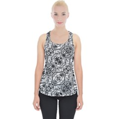 Black And White Ornate Pattern Piece Up Tank Top