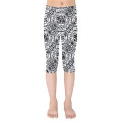Black And White Ornate Pattern Kids  Capri Leggings