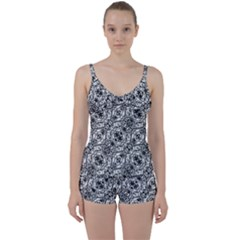 Black And White Ornate Pattern Tie Front Two Piece Tankini