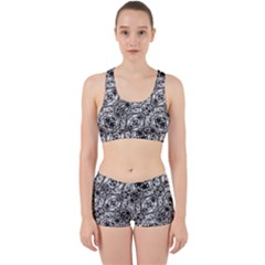 Black And White Ornate Pattern Work It Out Sports Bra Set