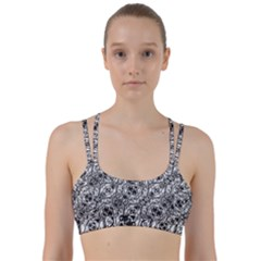 Black And White Ornate Pattern Line Them Up Sports Bra