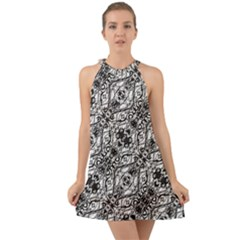 Black And White Ornate Pattern Halter Tie Back Chiffon Dress