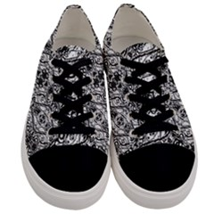 Black And White Ornate Pattern Men s Low Top Canvas Sneakers