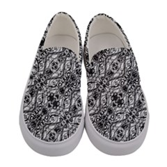 Black And White Ornate Pattern Women s Canvas Slip Ons
