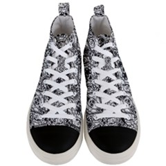 Black And White Ornate Pattern Men s Mid Top Canvas Sneakers