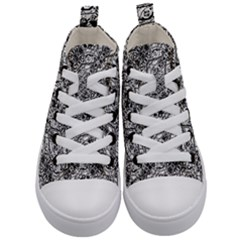 Black And White Ornate Pattern Kid s Mid Top Canvas Sneakers