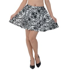 Black And White Ornate Pattern Velvet Skater Skirt