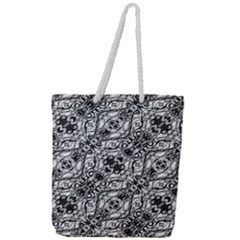 Black And White Ornate Pattern Full Print Rope Handle Tote (large)