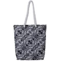 Black And White Ornate Pattern Full Print Rope Handle Tote (small)