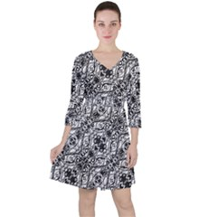 Black And White Ornate Pattern Ruffle Dress
