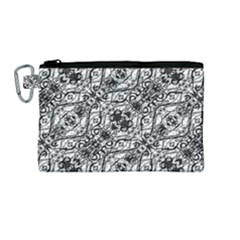 Black And White Ornate Pattern Canvas Cosmetic Bag (medium)