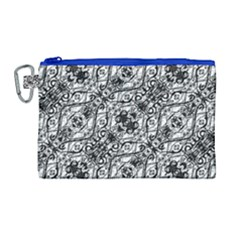 Black And White Ornate Pattern Canvas Cosmetic Bag (large)