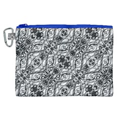 Black And White Ornate Pattern Canvas Cosmetic Bag (xl)