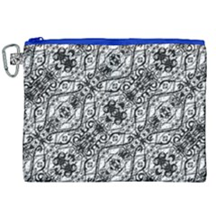 Black And White Ornate Pattern Canvas Cosmetic Bag (xxl)