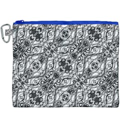 Black And White Ornate Pattern Canvas Cosmetic Bag (xxxl)