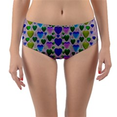 Love In Eternity Is Sweet As Candy Pop Art Reversible Mid Waist Bikini Bottoms