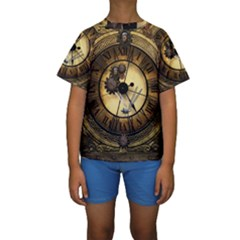 Wonderful Steampunk Desisgn, Clocks And Gears Kids  Short Sleeve Swimwear