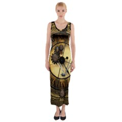 Wonderful Steampunk Desisgn, Clocks And Gears Fitted Maxi Dress
