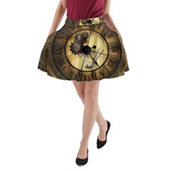 Wonderful Steampunk Desisgn, Clocks And Gears A Line Pocket Skirt