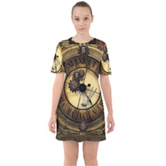 Wonderful Steampunk Desisgn, Clocks And Gears Sixties Short Sleeve Mini Dress