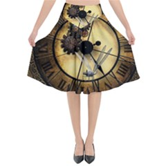 Wonderful Steampunk Desisgn, Clocks And Gears Flared Midi Skirt