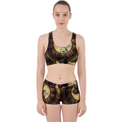 Wonderful Steampunk Desisgn, Clocks And Gears Work It Out Sports Bra Set