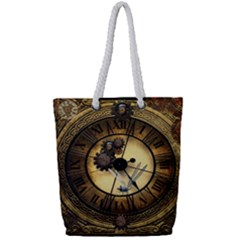 Wonderful Steampunk Desisgn, Clocks And Gears Full Print Rope Handle Tote (small)