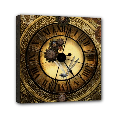 Wonderful Steampunk Desisgn, Clocks And Gears Mini Canvas 6  X 6