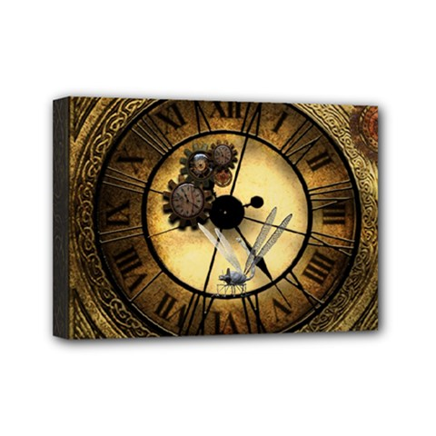 Wonderful Steampunk Desisgn, Clocks And Gears Mini Canvas 7  X 5