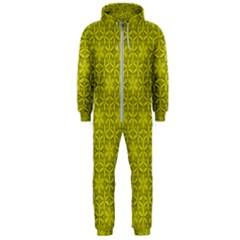 Flower Of Life Pattern Lemon Color  Hooded Jumpsuit (men)