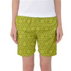Flower Of Life Pattern Lemon Color  Women s Basketball Shorts