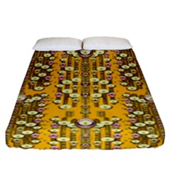 Rain Showers In The Rain Forest Of Bloom And Decorative Liana Fitted Sheet (queen Size)