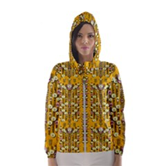 Rain Showers In The Rain Forest Of Bloom And Decorative Liana Hooded Wind Breaker (women)