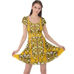 Rain Showers In The Rain Forest Of Bloom And Decorative Liana Cap Sleeve Dress