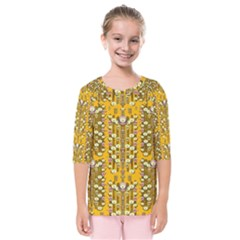 Rain Showers In The Rain Forest Of Bloom And Decorative Liana Kids  Quarter Sleeve Raglan Tee