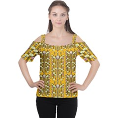 Rain Showers In The Rain Forest Of Bloom And Decorative Liana Cutout Shoulder Tee