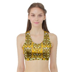 Rain Showers In The Rain Forest Of Bloom And Decorative Liana Sports Bra With Border