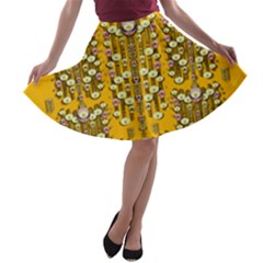 Rain Showers In The Rain Forest Of Bloom And Decorative Liana A Line Skater Skirt