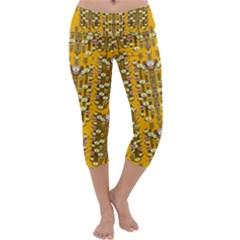 Rain Showers In The Rain Forest Of Bloom And Decorative Liana Capri Yoga Leggings