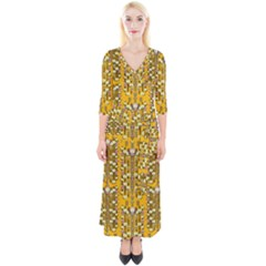 Rain Showers In The Rain Forest Of Bloom And Decorative Liana Quarter Sleeve Wrap Maxi Dress